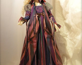 BJD Purple Opulencia Gown, Cape and Crown