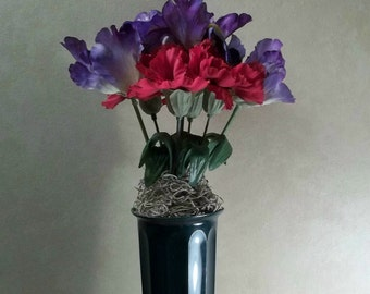 Memorial Flowers for Grave Decoration Red Carnations Purple Irises Cemetery Flowers Memorial Day Flower Arrangement Grave Flowers Headstone