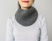 SCARF //  Elegant and warm gray charcoal  neck warmer cowl scarflette Unisex Men