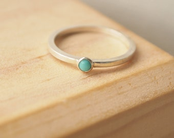 Turquoise December Birthstone Ring - Stacking Rings Silver Turquoise - December Birthday Gift - Sterling Silver ring - Birthstone Jewellery