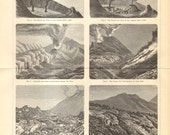1897 Antique Engraving of Volcanoes, Mount Etna and Mount Vesuvius