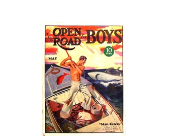 Antique Nautical Decor 1931 Open Road for Boys Magazine Vintage Advertising Boating Maritime Fishing Color Graphics