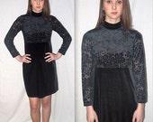 Lita .. vintage 90s black mini dress / 1990s velvet sheer floral / crushed burnout / babydoll dolly lolita / grunge minimalist goth  .. XS S