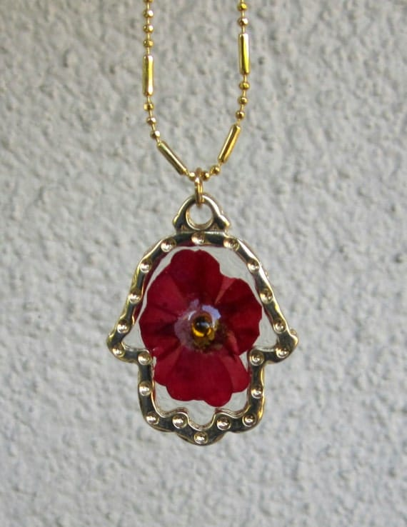 Gold Hamsa Necklace with Red Pressed Flower, Hamsa Flower Resin Necklace