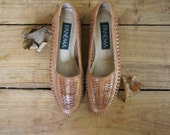 Vintage Woven Leather Shoes, Brown Woven Leather Shoes, Ipanema Size 6.5, Orchid