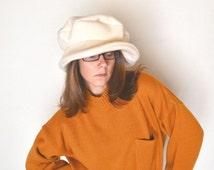 Large Floppy Hat Off White Mod Pimp Twiggy Style 1960s Vintage Hat Large 7 1/4