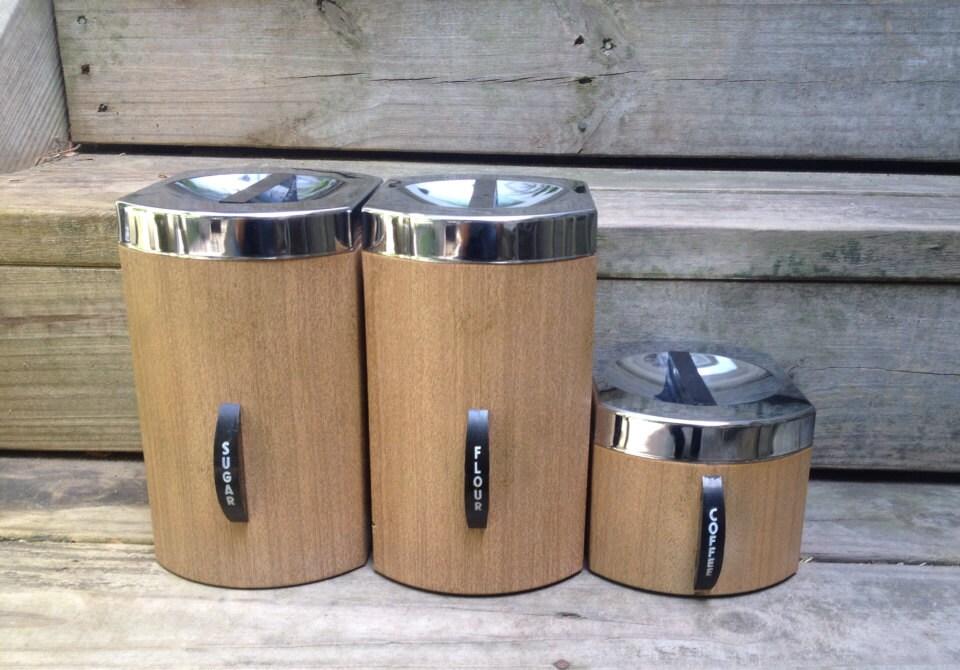 brown kromex kitchen canisters metal faux wood flour sugar