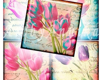 Tulips - 63 1x1 Inch Square JPG images - Digital Collage Sheet