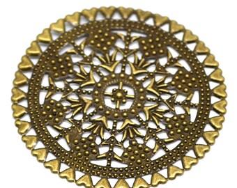 Filigree : 10 Antique Brass Filigree Round Heart Connectors / Antique Bronze Filigree Stampings ... Lead, Nickel & Cadmium Free 18534.B34