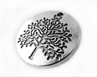 Charms : 10 Antique Silver Tree of Life Charms / Round Tree of Life Pendants ... 22x2mm ... Lead, Nickel & Cadmium Free  54422.J6D