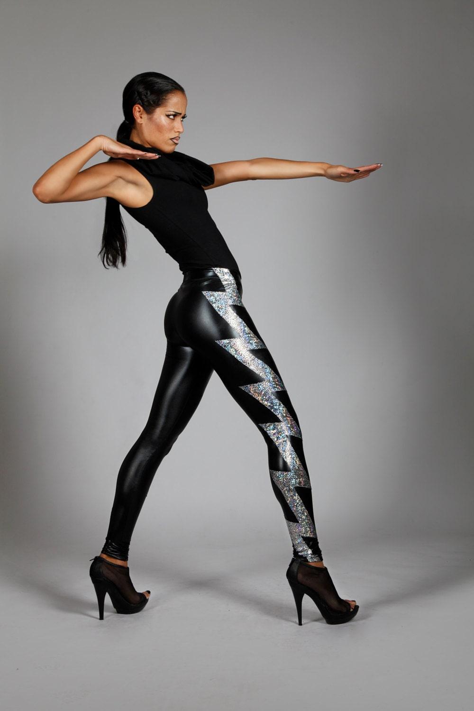 Holographic Lightning Bolt Leggings Black Leather Spandex