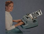 One of a Kind Retro Paper Collage, Gray and Blue Secretary Collage on Paper, Back to School Art, Don't, frighten