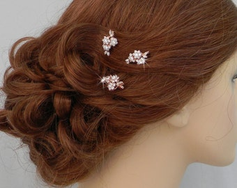 Rose Gold Bridal Hair pins, Bridal Hair comb, Vintage style hair pins, Swarovski crystal hair clip, Rhinestone hair comb, Piper Hair Pins