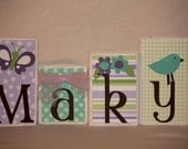 Personalized wood blocks with any name or theme -- Purple and green butterflies and bird