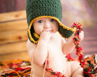Crochet Baby Photography Prop Fringe Hammock Blanket with Optional Ear Flap Hat for Autumn, Fall, Harvest, Thanksgiving