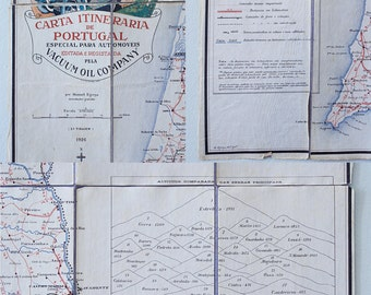 Beautiful Collectible Antique 1926 Linen Road Map of Portugal  in its Original Protective Box