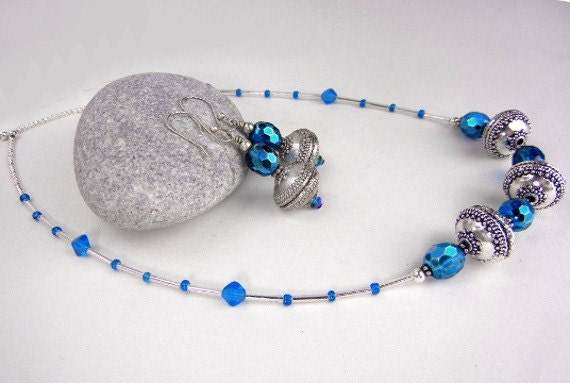 RESERVED FOR C:  Cerulean blue Czech glass and Bali type silver beaded earrings and necklace set - Blue Pool jewelry set