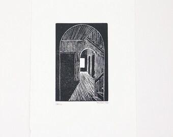 The dark room - tiny original wood engraving print