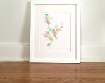 Triangles #1 in Pink, Teal, Yellow, Grey Original Ink