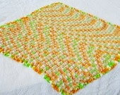 Small Crocheted Lap Baby Blanket Afghan Throw Fall Colors Variegated Gold Tan Green White Scalloped Edge