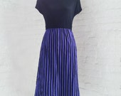 Black Purple Stripe Dress 80s Vintage Pencil Midi Skirt Black T shirt Bobby's Girl 8 Medium New Wave Punk Rock Goth Indie Minimalist Dress