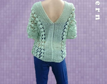 INSTANT DOWNLOAD Top Tunic Blouse or Poncho -  Crochet Pattern