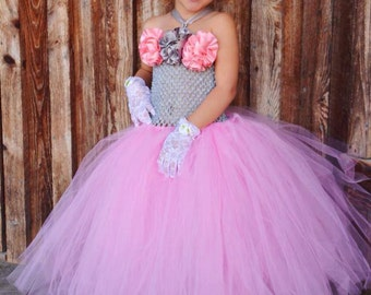 Pink and Gray Couture Flower Girl Tutu Dress/ Pageant Attire/Tutu Dress