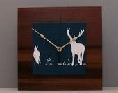 Deer Clock, Reclaimed Redwood Clock, Gift for a Guy, Christmas Gift
