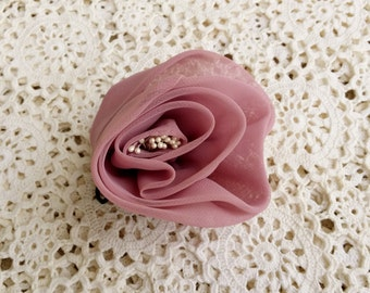 Vintage Chiffon Millinery Flower, Lilac Rose