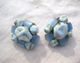 Now on Sale, 1950s Baby Blue Lucite West Germany Earrings