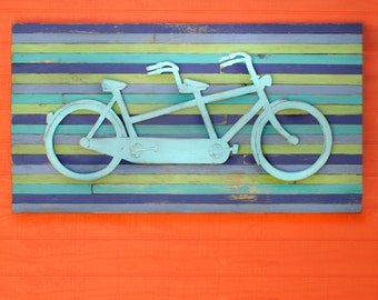 Tandem Bicycle Art Pallet Art Wooden Bike Sign Bicycle Built for Two Wall Art