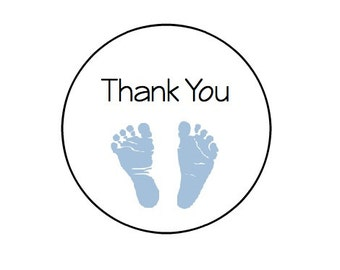 24 Thank You- Baby Feet - Blue or Pink - Kraft or White round labels/seals -Baby Shower seal 1""