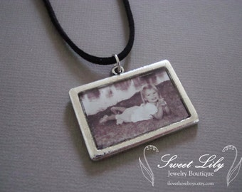 Custom Rectangle Photo Pendant - Antique Silver