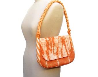 Fabric Shoulder Bag Purse, Orange Handbag, Hand Dyed Terracotta Silk Fabric