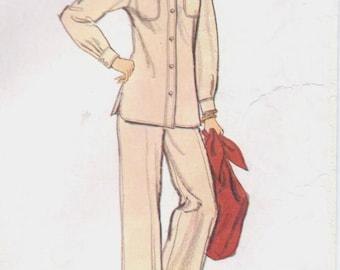 70s Calvin Klein Womens Nehru Collar Jacket, Hipster Pants, Skirt & Shirt Vogue Sewing Pattern 1366 Size 8 Bust 31 1/2 American Designer