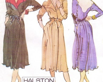 1970s Halston Womens Bias Front Wrap Dress McCalls Sewing Pattern 6841 Size 12 Bust 34 Shaped Yoke & Shawl Collar
