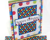 Birthday Card with Matching Embellished Envelope- Polka Dots and Stripes