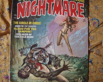 Nightmare No 2 Feb 1971 Blood For The Vampire Robot Ravaging Wolves The Devil Cold Gods Snake Spaceship Horror Sci Fi Comic Book Magazine