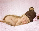 Bear Hat for Newborn Brown with Fuzzy Tan Ears and Ties