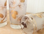 Gold Frosted Pine Cone Highball Glasses 3