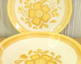 Vintage 1960's Royal China Damsel Yellow Flower Bowls + Plates + Sugar Bowl Dinnerware 19pc
