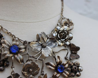 My English Garden- Sterling and Fine Silver Statement Necklace- Vintage and Antique Flowers- Handwrought Silver- One of a Kind
