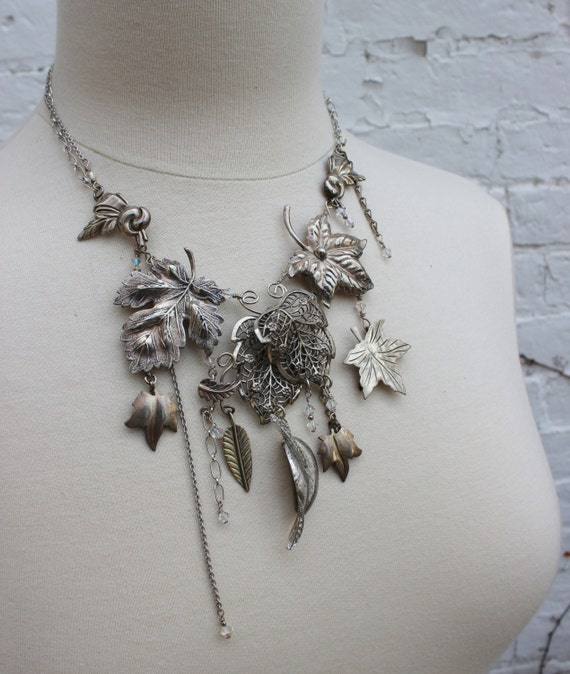 RESERVED Listing- LAYAWAY - First Frost Statement Necklace - Solid Sterling Silver repurposed vintage assemblage jewelry- Falling Leaves
