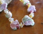 Watermelon Tourmaline Slice Statement Necklace Ethiopian Opal Raw Handcrafted Jewelry