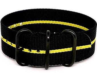 Ballistic Nylon NATO 1 Piece Watch Strap - Black Yellow Stripe (PVD Buckle)