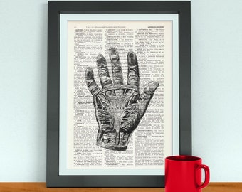 Summer Sale Wall art print Warning Zombie Hand on dictionary page-Gift, Boys dorm, decor, Zombie gift, Scary poster print SKA079
