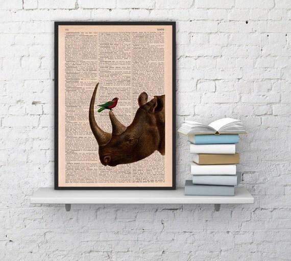 Winter Sale 10% off Rhino and his little friend, wall decor-Dictionary Book Print Gift her,Altered art Giclee print Rhino BPAN072b
