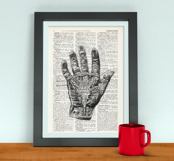 Wall art print Warning Zombie Hand on dictionary page-Gift, Boys dorm, decor, Zombie gift, Scary poster print SKA079
