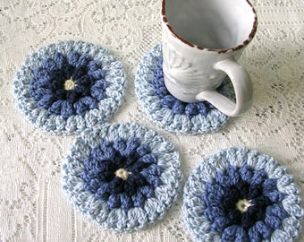 Crochet Coasters - Drink Coasters-  Blue Dahlia Coaster Set - Crochet Flower Coasters