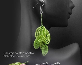 PDF Tutorial Leaf Earrings in the French Beaded Flowers Technique